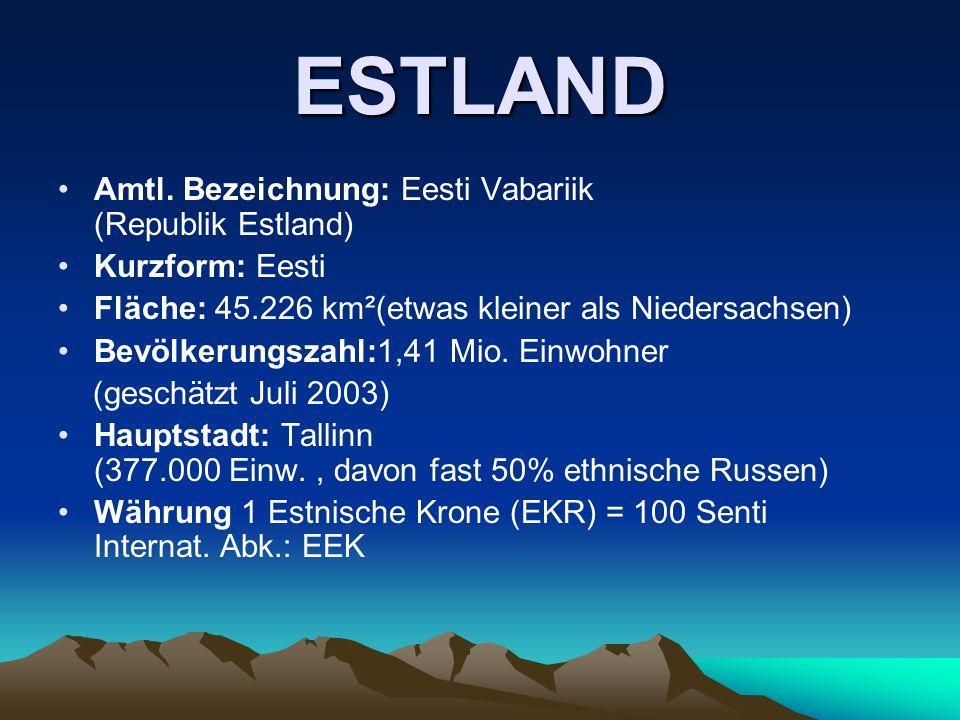 ESTLAND Amtl. Bezeichnung: Eesti Vabariik (Republik Estland) Kurzform: Eesti Fläche: 45.226 km²(etwas kleiner als Niedersachsen) Bevölkerungszahl:1,41