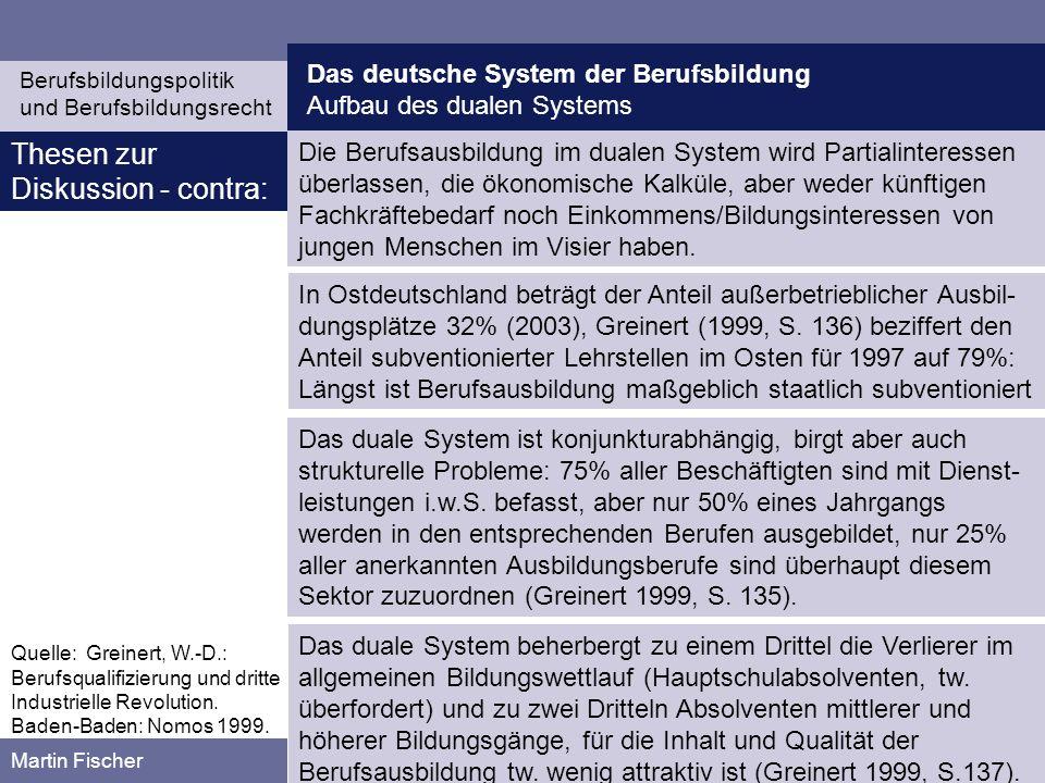 Das deutsche System der Berufsbildung Aufbau des dualen Systems Berufsbildungspolitik und Berufsbildungsrecht Martin Fischer Die Berufsausbildung im d