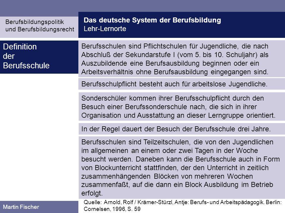 Das deutsche System der Berufsbildung Lehr-Lernorte Berufsbildungspolitik und Berufsbildungsrecht Martin Fischer Berufsschulen sind Pflichtschulen für