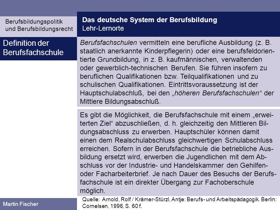 Das deutsche System der Berufsbildung Lehr-Lernorte Berufsbildungspolitik und Berufsbildungsrecht Martin Fischer Berufsfachschulen vermitteln eine ber