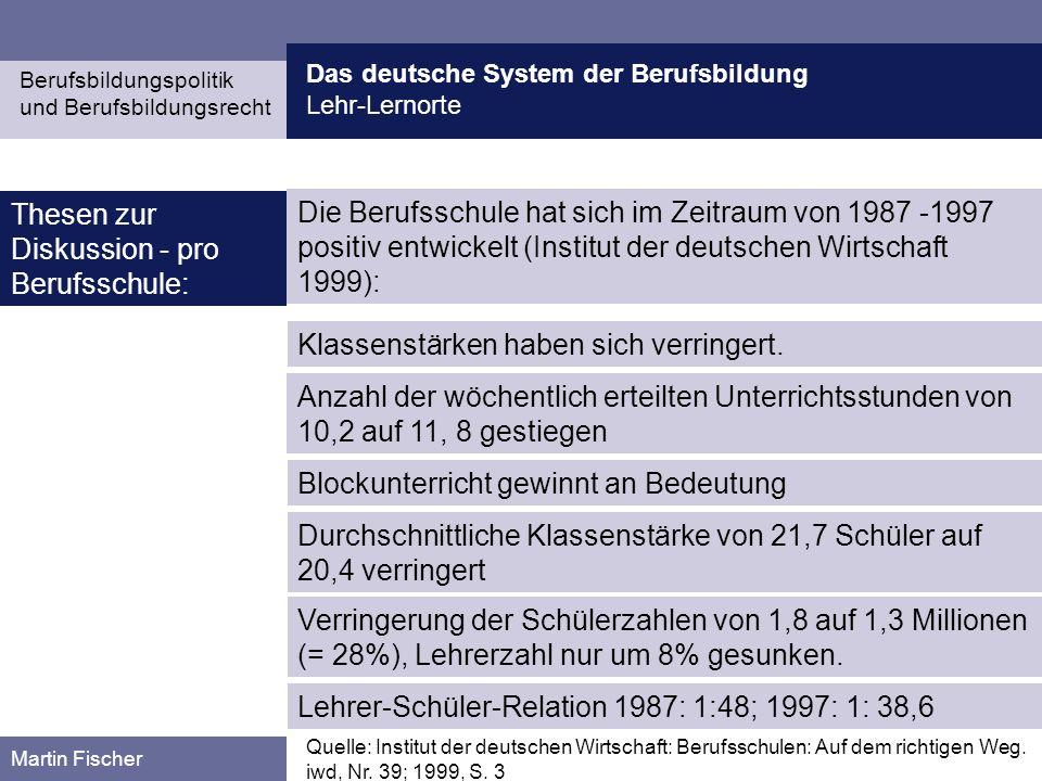 Das deutsche System der Berufsbildung Lehr-Lernorte Berufsbildungspolitik und Berufsbildungsrecht Martin Fischer Die Berufsschule hat sich im Zeitraum