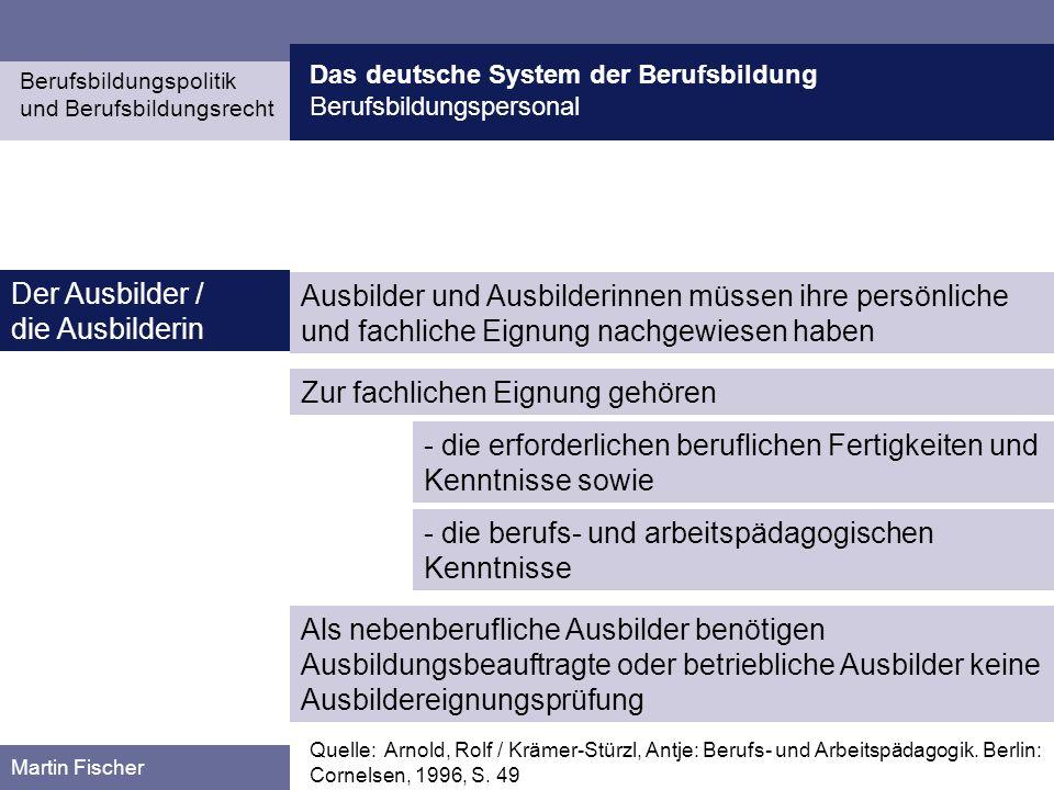 Das deutsche System der Berufsbildung Berufsbildungspersonal Berufsbildungspolitik und Berufsbildungsrecht Martin Fischer Ausbilder und Ausbilderinnen