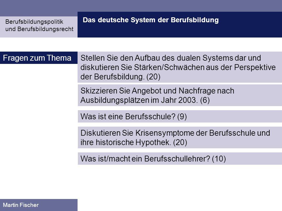 Das deutsche System der Berufsbildung Berufsbildungspolitik und Berufsbildungsrecht Martin Fischer Fragen zum ThemaStellen Sie den Aufbau des dualen S