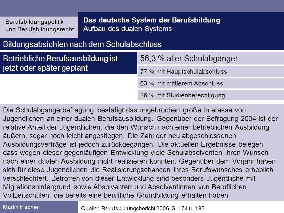 Das deutsche System der Berufsbildung Aufbau des dualen Systems Berufsbildungspolitik und Berufsbildungsrecht Martin Fischer Starker Rückgang der Ausbildungsplätze, nicht nur konjunkturell bedingt, sondern auch strukturell (Rückgang im gewerblich-technischen Bereich und im Handwerk, der im kaufmännischen und IT-Bereich nicht kompensiert werden konnte).