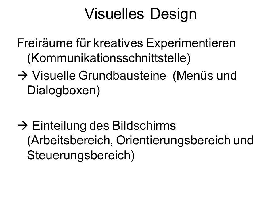 Visuelles Design Freiräume für kreatives Experimentieren (Kommunikationsschnittstelle) Visuelle Grundbausteine (Menüs und Dialogboxen) Einteilung des
