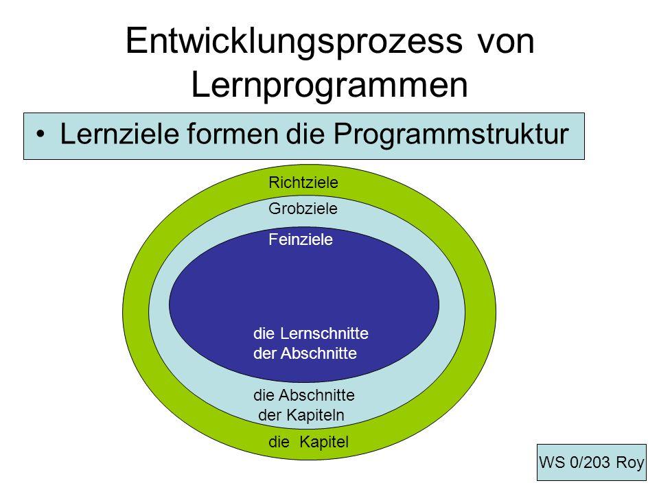 Entwicklungsprozess von Lernprogrammen Lernziele formen die Programmstruktur ------- Richtziele die Kapitel Grobziele die Abschnitte der Kapiteln Fein