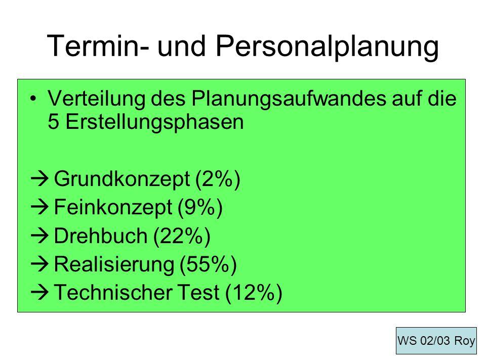 Termin- und Personalplanung Verteilung des Planungsaufwandes auf die 5 Erstellungsphasen Grundkonzept (2%) Feinkonzept (9%) Drehbuch (22%) Realisierun