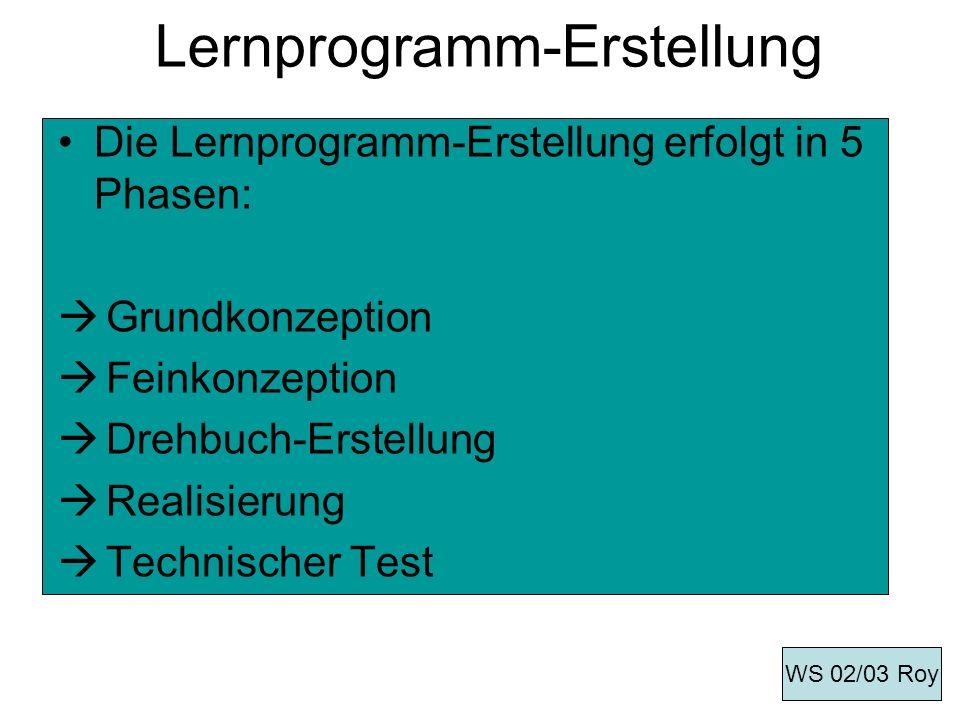 Lernprogramm-Erstellung Die Lernprogramm-Erstellung erfolgt in 5 Phasen: Grundkonzeption Feinkonzeption Drehbuch-Erstellung Realisierung Technischer T