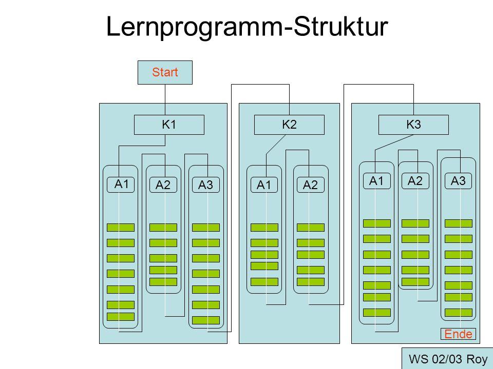 Lernprogramm-Erstellung Grundkonzeption -Information des Autors (der Autoren) -Lernziele (3-stufiges Konzept) -Lernprogramm-Grundstruktur WS 02/03 Roy