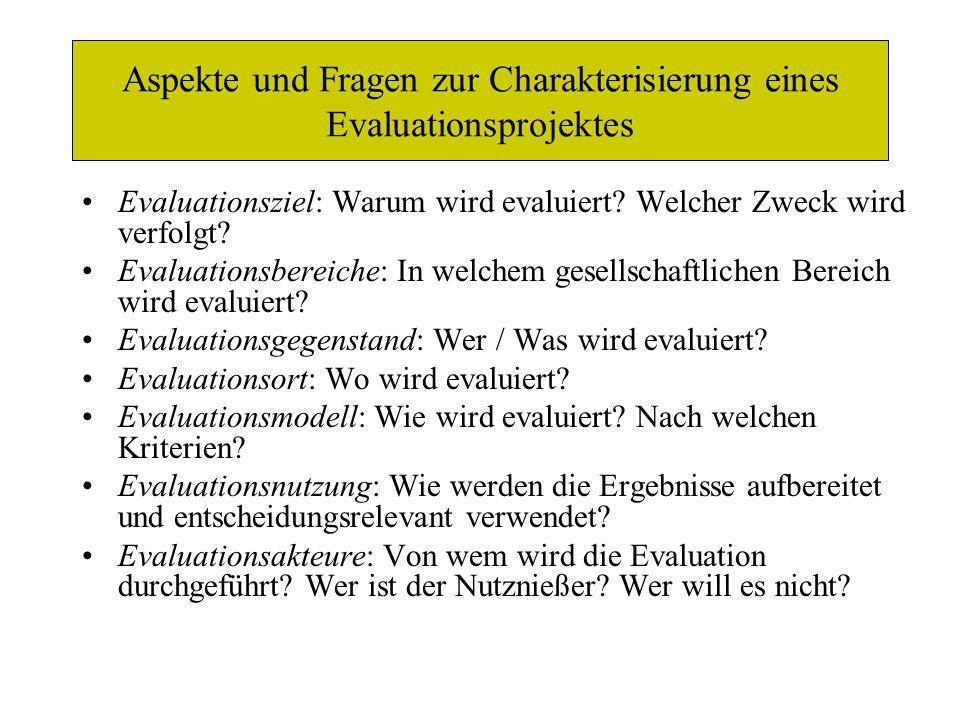 Aspekte und Fragen zur Charakterisierung eines Evaluationsprojektes Evaluationsziel: Warum wird evaluiert? Welcher Zweck wird verfolgt? Evaluationsber