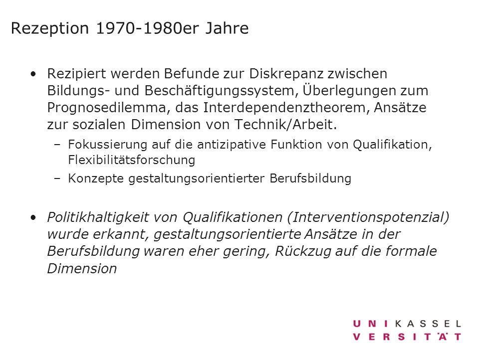 Rezeption 1970-1980er Jahre Rezipiert werden Befunde zur Diskrepanz zwischen Bildungs- und Beschäftigungssystem, Überlegungen zum Prognosedilemma, das