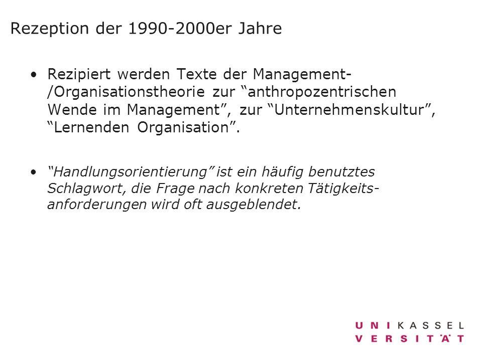 Rezeption der 1990-2000er Jahre Rezipiert werden Texte der Management- /Organisationstheorie zur anthropozentrischen Wende im Management, zur Unterneh