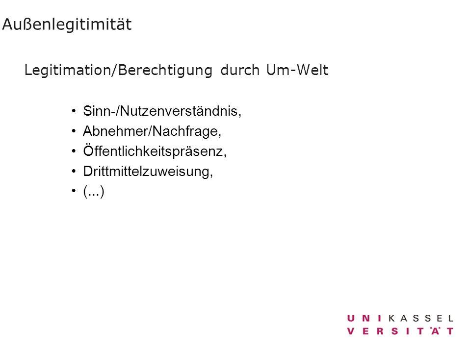 Außenlegitimität Legitimation/Berechtigung durch Um-Welt Sinn-/Nutzenverständnis, Abnehmer/Nachfrage, Öffentlichkeitspräsenz, Drittmittelzuweisung, (.