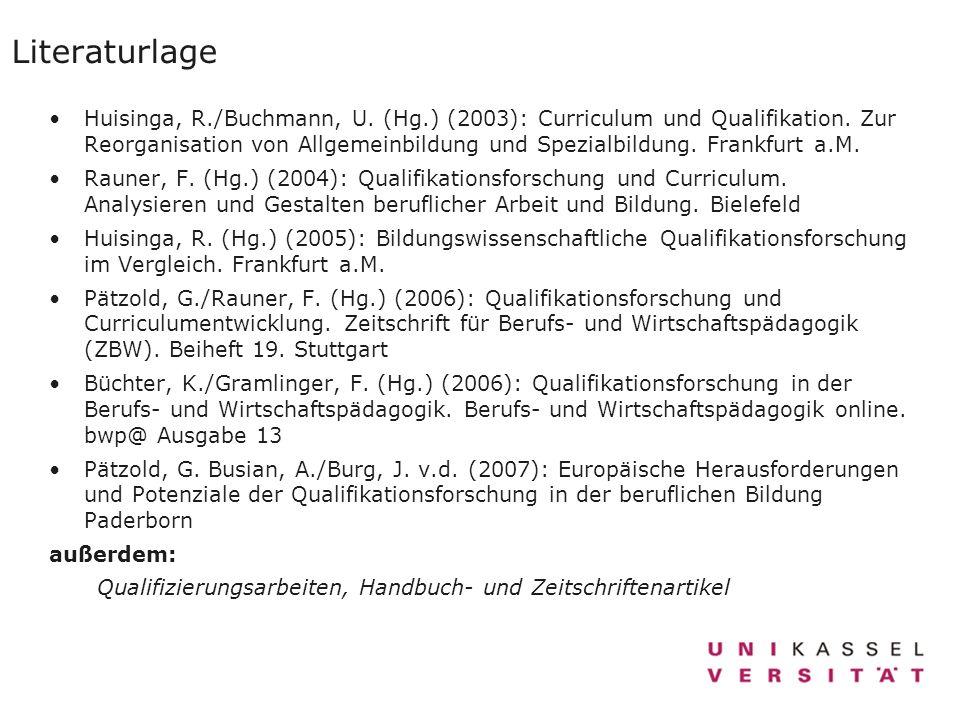 Literaturlage Huisinga, R./Buchmann, U. (Hg.) (2003): Curriculum und Qualifikation. Zur Reorganisation von Allgemeinbildung und Spezialbildung. Frankf