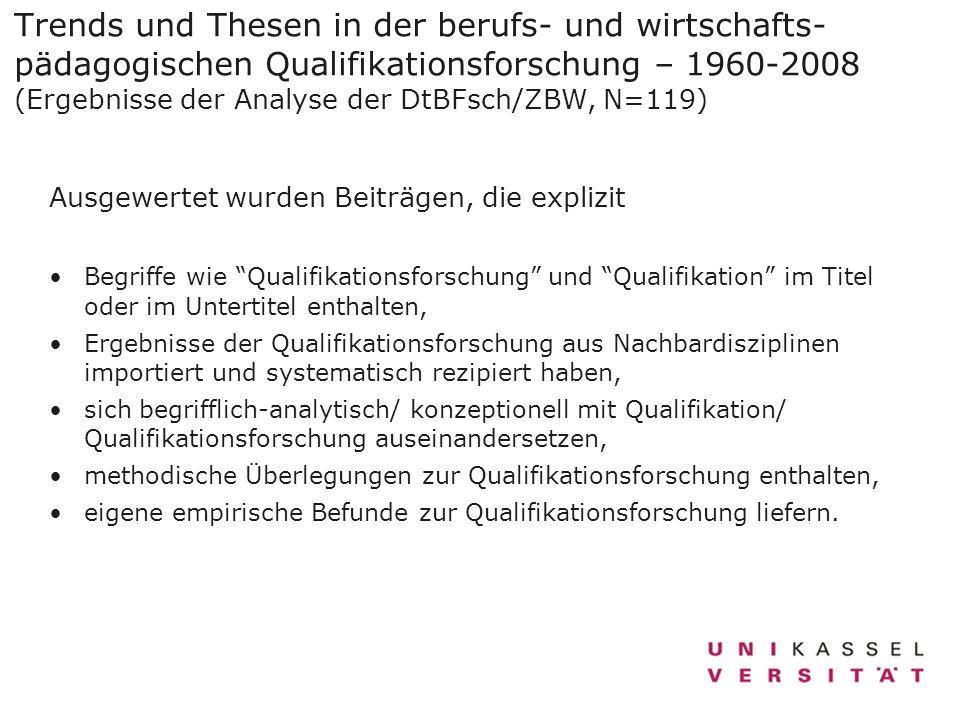 Trends und Thesen in der berufs- und wirtschafts- pädagogischen Qualifikationsforschung – 1960-2008 (Ergebnisse der Analyse der DtBFsch/ZBW, N=119) Au