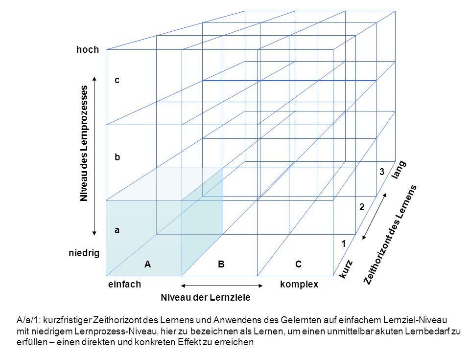 hoch niedrig einfachkomplex lang kurz Niveau der Lernziele Niveau des Lernprozesses Zeithorizont des Lernens ABC a b c 1 2 3 A/a/1: kurzfristiger Zeithorizont des Lernens und Anwendens des Gelernten auf einfachem Lernziel-Niveau mit niedrigem Lernprozess-Niveau, hier zu bezeichnen als Lernen, um einen unmittelbar akuten Lernbedarf zu erfüllen – einen direkten und konkreten Effekt zu erreichen