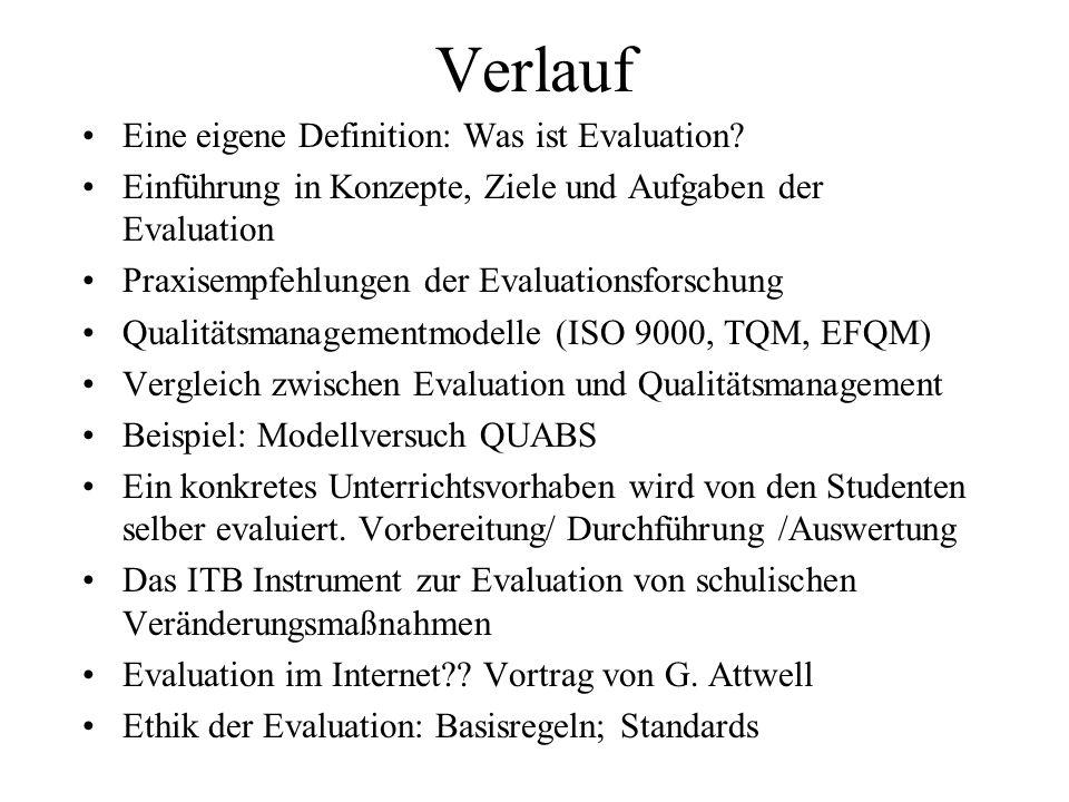 Verlauf Eine eigene Definition: Was ist Evaluation? Einführung in Konzepte, Ziele und Aufgaben der Evaluation Praxisempfehlungen der Evaluationsforsch
