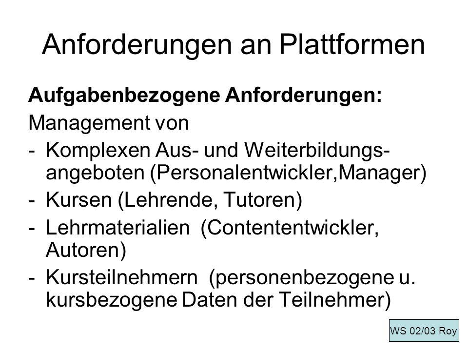 Anforderungen an Plattformen Aufgabenbezogene Anforderungen: Management von -Komplexen Aus- und Weiterbildungs- angeboten (Personalentwickler,Manager)