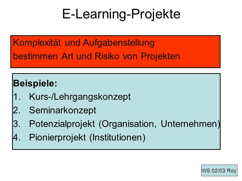 E-Learning-Projekte Komplexität und Aufgabenstellung bestimmen Art und Risiko von Projekten Beispiele: 1.Kurs-/Lehrgangskonzept 2.Seminarkonzept 3.Pot