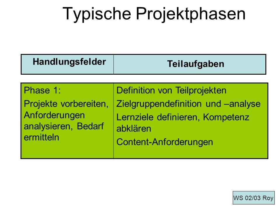 Typische Projektphasen Phase 1: Projekte vorbereiten, Anforderungen analysieren, Bedarf ermitteln Definition von Teilprojekten Zielgruppendefinition u