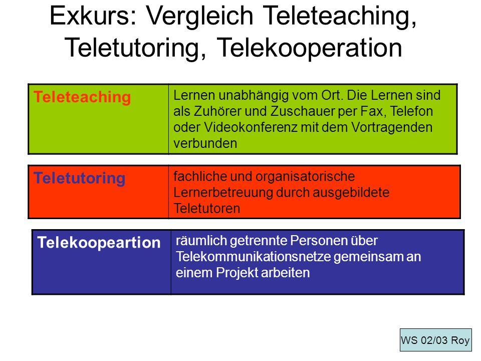 Exkurs: Vergleich Teleteaching, Teletutoring, Telekooperation Teleteaching Lernen unabhängig vom Ort. Die Lernen sind als Zuhörer und Zuschauer per Fa