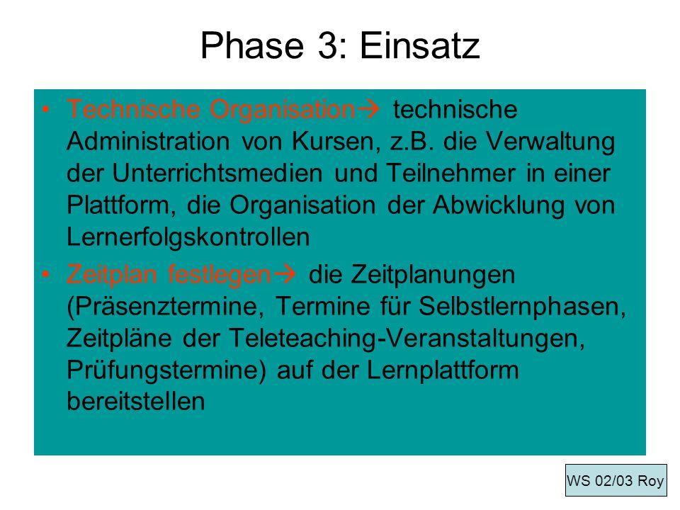 Phase 3: Einsatz Technische Organisation technische Administration von Kursen, z.B. die Verwaltung der Unterrichtsmedien und Teilnehmer in einer Platt