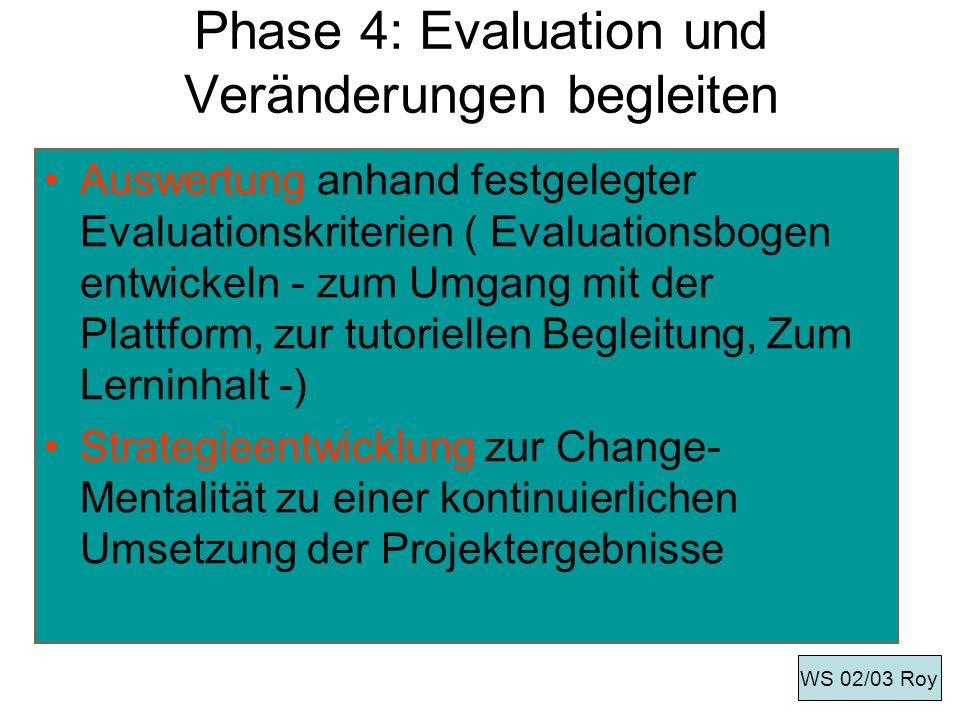 Phase 4: Evaluation und Veränderungen begleiten Auswertung anhand festgelegter Evaluationskriterien ( Evaluationsbogen entwickeln - zum Umgang mit der
