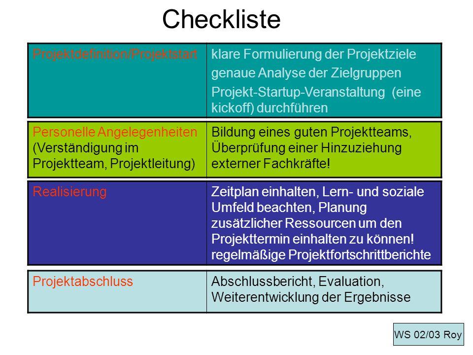 Checkliste Projektdefinition/Projektstartklare Formulierung der Projektziele genaue Analyse der Zielgruppen Projekt-Startup-Veranstaltung (eine kickof