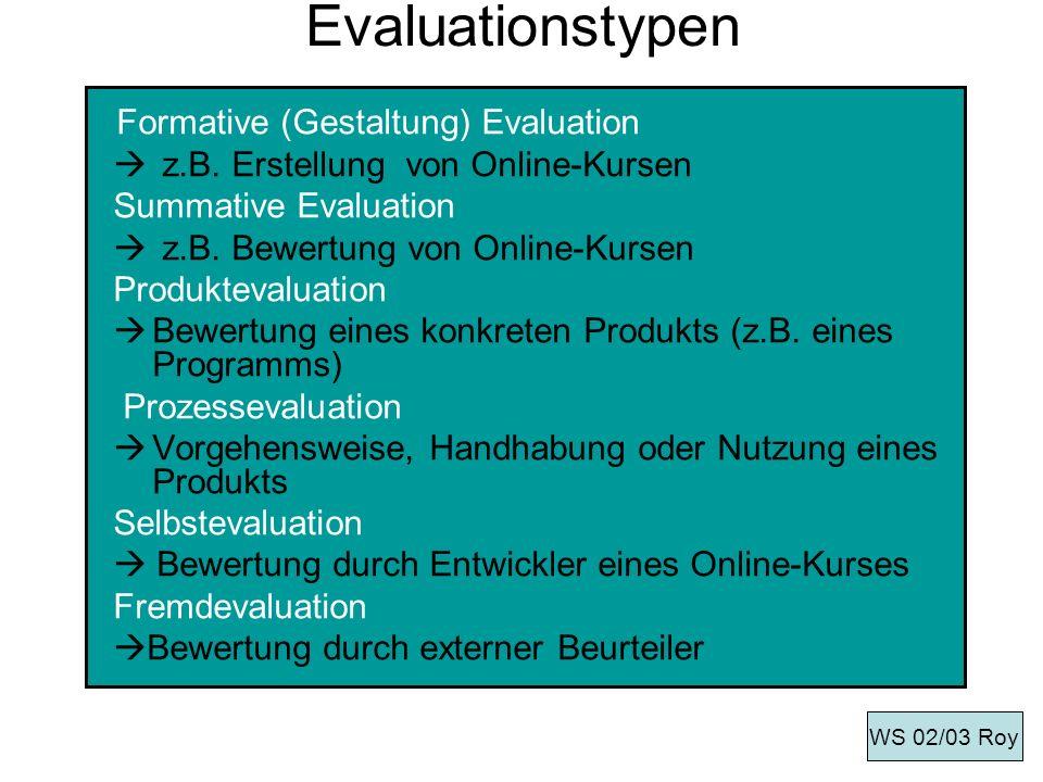 Evaluationstypen Formative (Gestaltung) Evaluation z.B. Erstellung von Online-Kursen Summative Evaluation z.B. Bewertung von Online-Kursen Produkteval