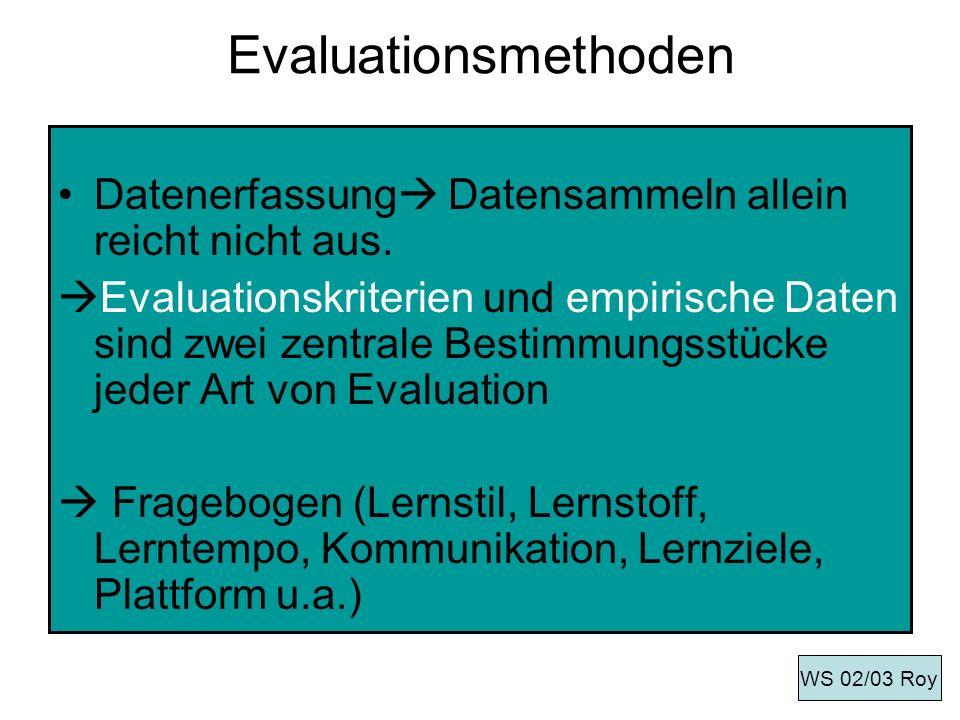 Evaluationsmethoden Datenerfassung Datensammeln allein reicht nicht aus. Evaluationskriterien und empirische Daten sind zwei zentrale Bestimmungsstück