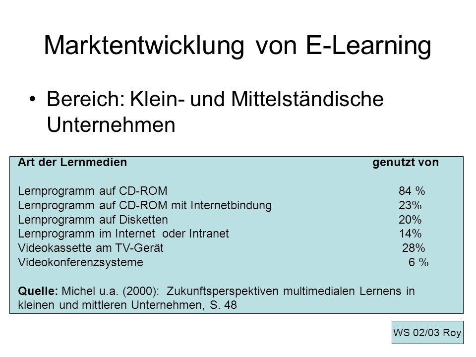 Lernmanagementsysteme/Plattform LMS Ein modulares Baukastensystem LMS erlauben es Organisationen Lernplattformen aufzubauen, um -Wissens- und Kompetenzziele zu definieren -die Lernbedürfnisse von Individuen und Organisationen zu analysieren - online und offline Kurs- und Lernmaterialien auszuwählen und einzukaufen -unternehmensweite Lerninitiative und -prozesse zu managen WS 02/03 Roy