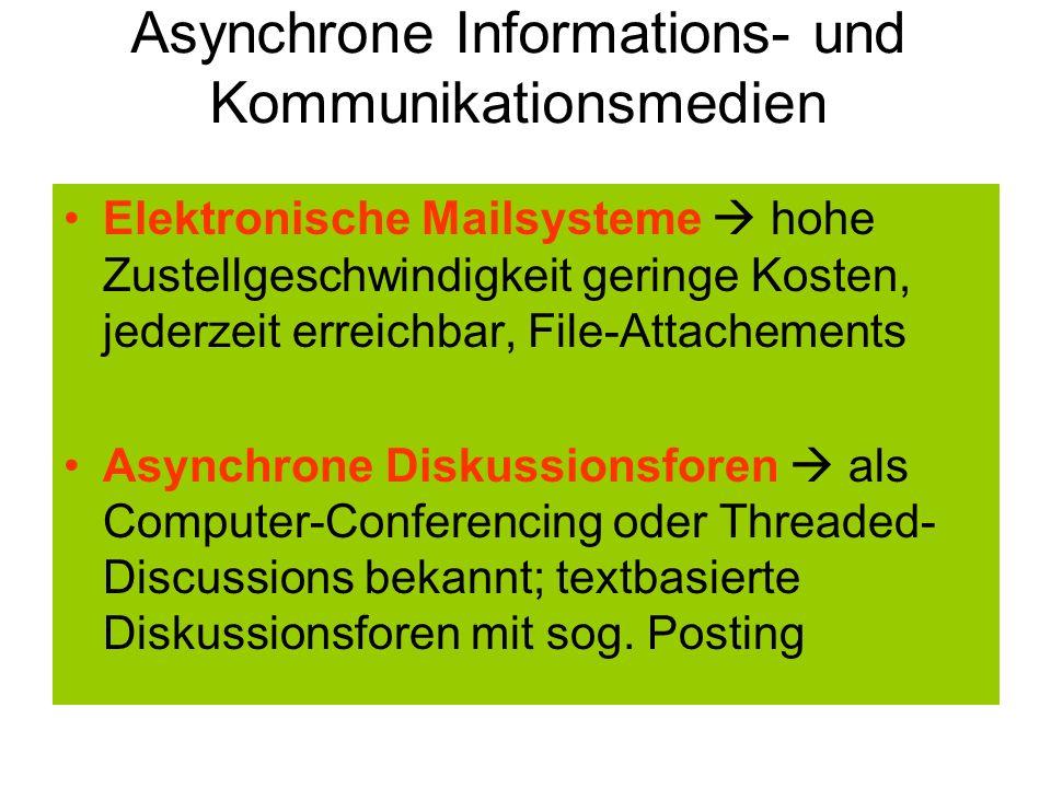 Asynchrone Informations- und Kommunikationsmedien Elektronische Mailsysteme hohe Zustellgeschwindigkeit geringe Kosten, jederzeit erreichbar, File-Att