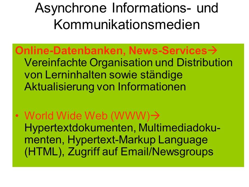 Asynchrone Informations- und Kommunikationsmedien Online-Datenbanken, News-Services Vereinfachte Organisation und Distribution von Lerninhalten sowie
