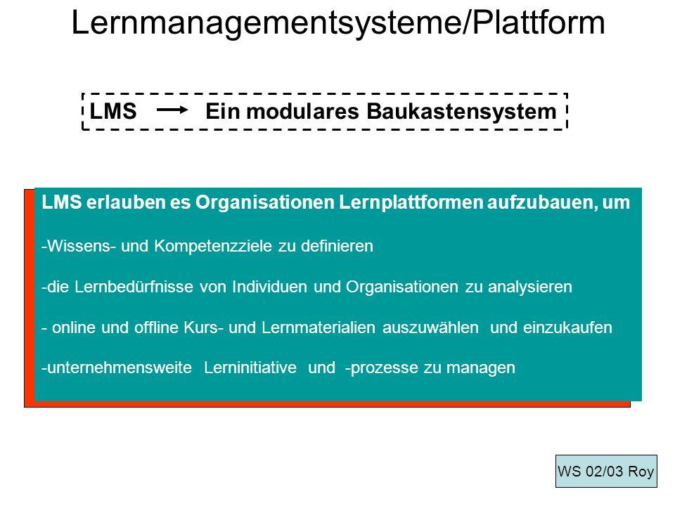 E-Learning-Lösung umfasst drei Komponenten: Multimediale und interaktive Lerninhalte (Contents) eine Infrastruktur, die diese Inhalte organisatorisch zugänglich macht und die Nutzung steuert (Plattform) Dienstleistungen, die für die Einführung und den Betrieb der E-Learning-Lösung nötig sind (Consulting/Services) WS 02/03 Roy