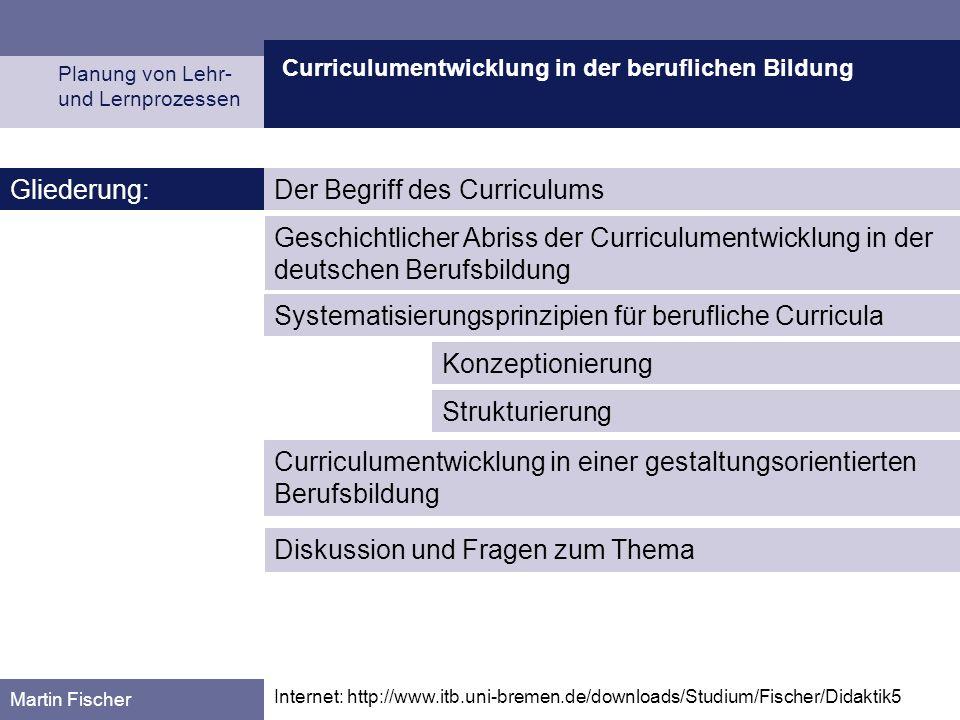 Curriculumentwicklung in der beruflichen Bildung Planung von Lehr- und Lernprozessen Martin Fischer Internet: http://www.itb.uni-bremen.de/downloads/S
