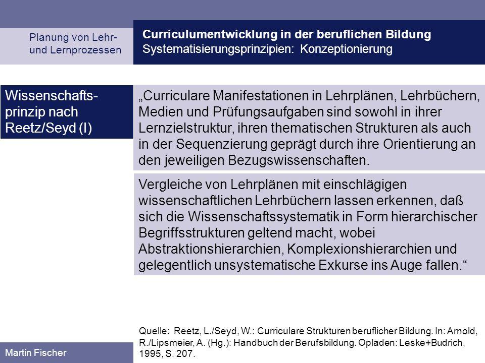 Curriculumentwicklung in der beruflichen Bildung Systematisierungsprinzipien: Konzeptionierung Planung von Lehr- und Lernprozessen Martin Fischer Curr