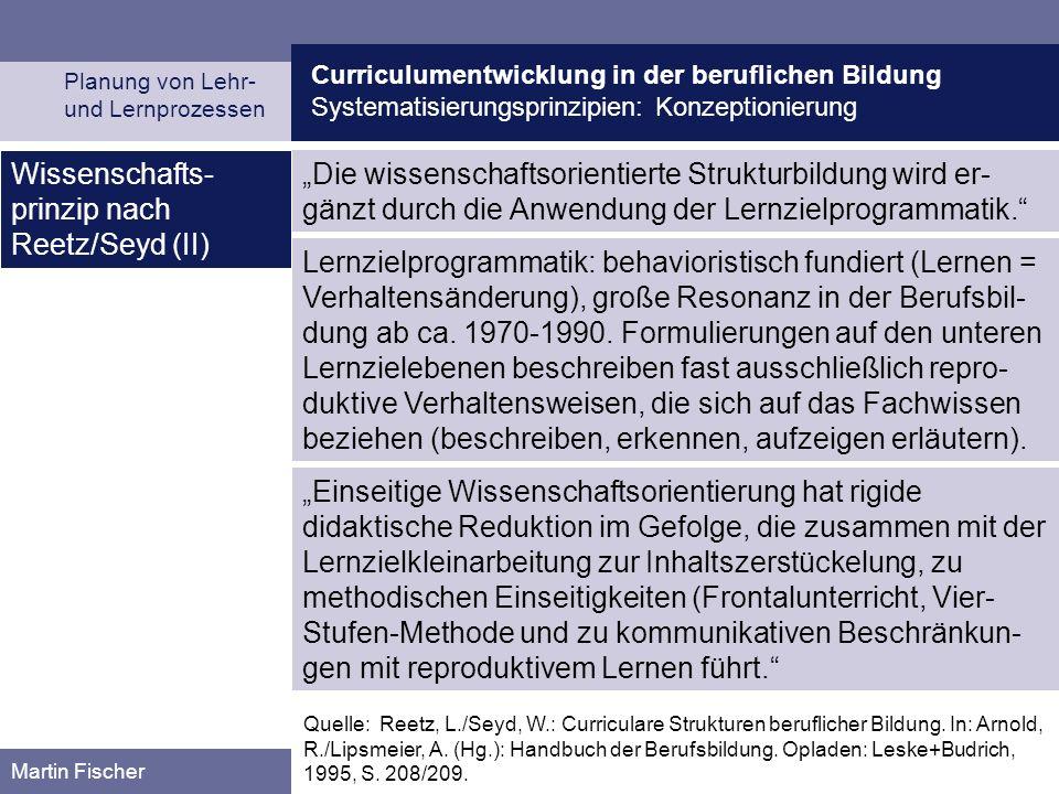 Curriculumentwicklung in der beruflichen Bildung Systematisierungsprinzipien: Konzeptionierung Planung von Lehr- und Lernprozessen Martin Fischer Die wissenschaftsorientierte Strukturbildung wird er- gänzt durch die Anwendung der Lernzielprogrammatik.