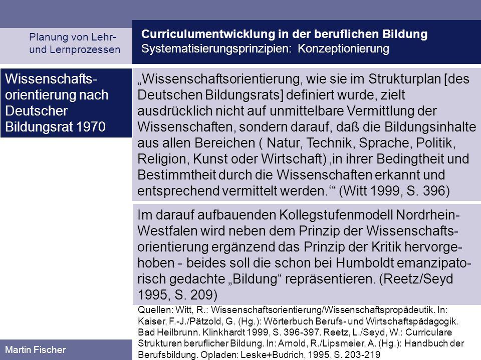 Curriculumentwicklung in der beruflichen Bildung Systematisierungsprinzipien: Konzeptionierung Planung von Lehr- und Lernprozessen Martin Fischer Wiss
