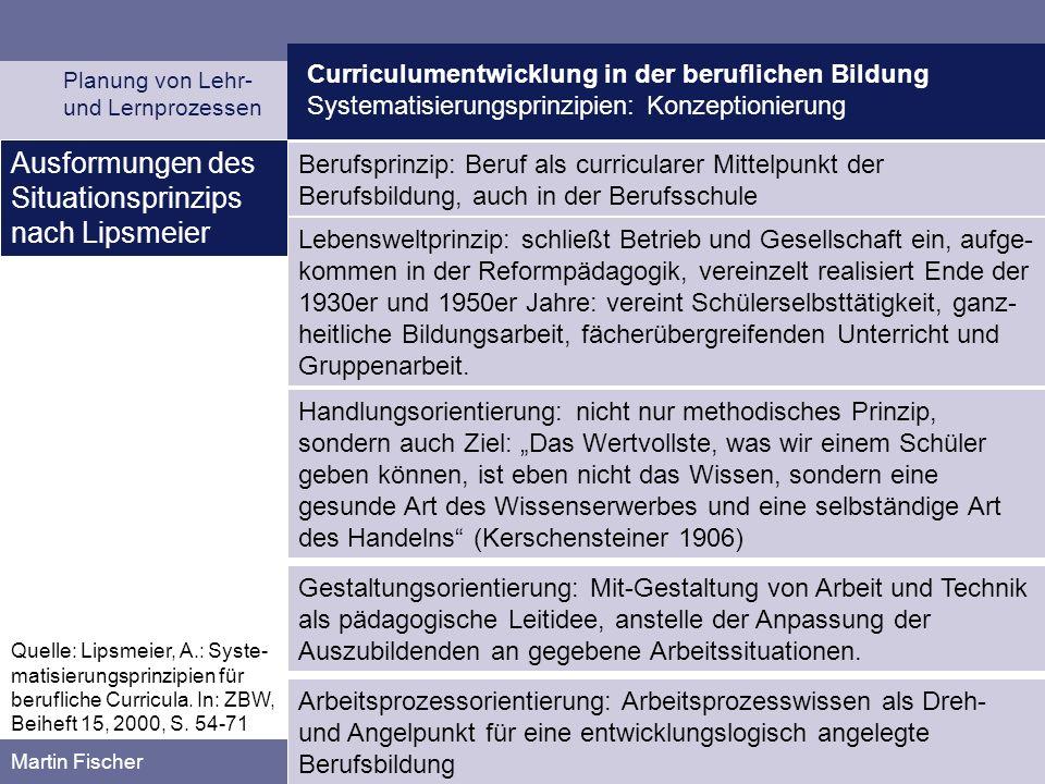 Curriculumentwicklung in der beruflichen Bildung Systematisierungsprinzipien: Konzeptionierung Planung von Lehr- und Lernprozessen Martin Fischer Beru