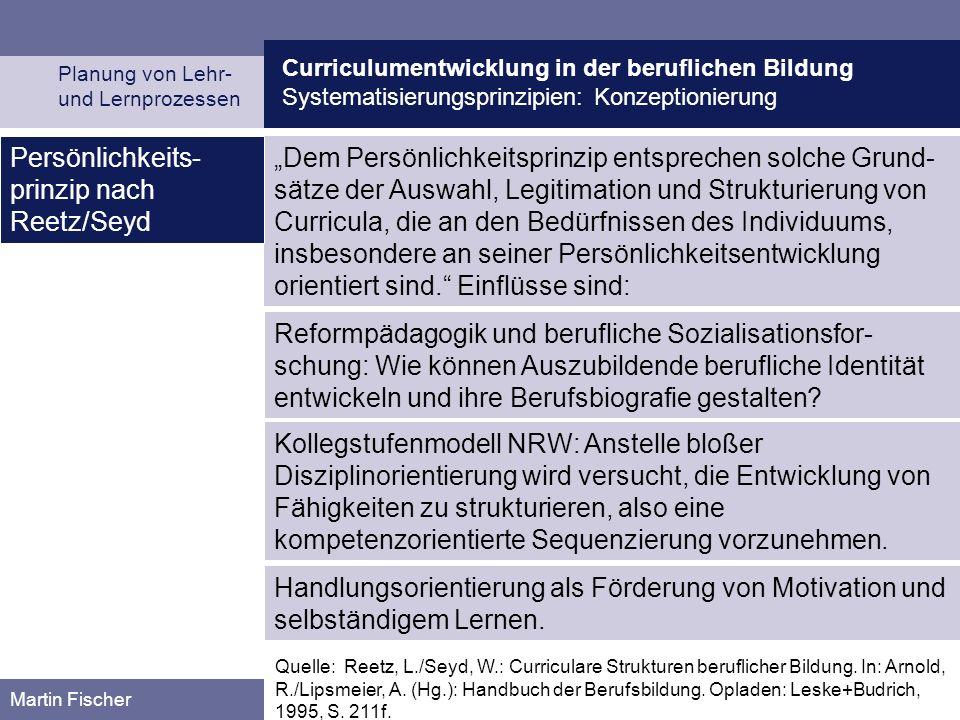 Curriculumentwicklung in der beruflichen Bildung Systematisierungsprinzipien: Konzeptionierung Planung von Lehr- und Lernprozessen Martin Fischer Dem