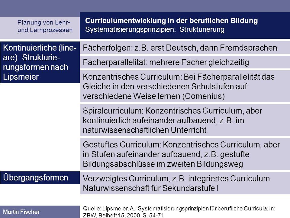 Curriculumentwicklung in der beruflichen Bildung Systematisierungsprinzipien: Strukturierung Planung von Lehr- und Lernprozessen Martin Fischer Fächerfolgen: z.B.