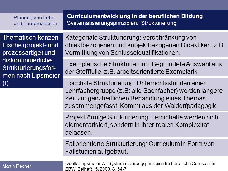 Curriculumentwicklung in der beruflichen Bildung Systematisierungsprinzipien: Strukturierung Planung von Lehr- und Lernprozessen Martin Fischer Katego