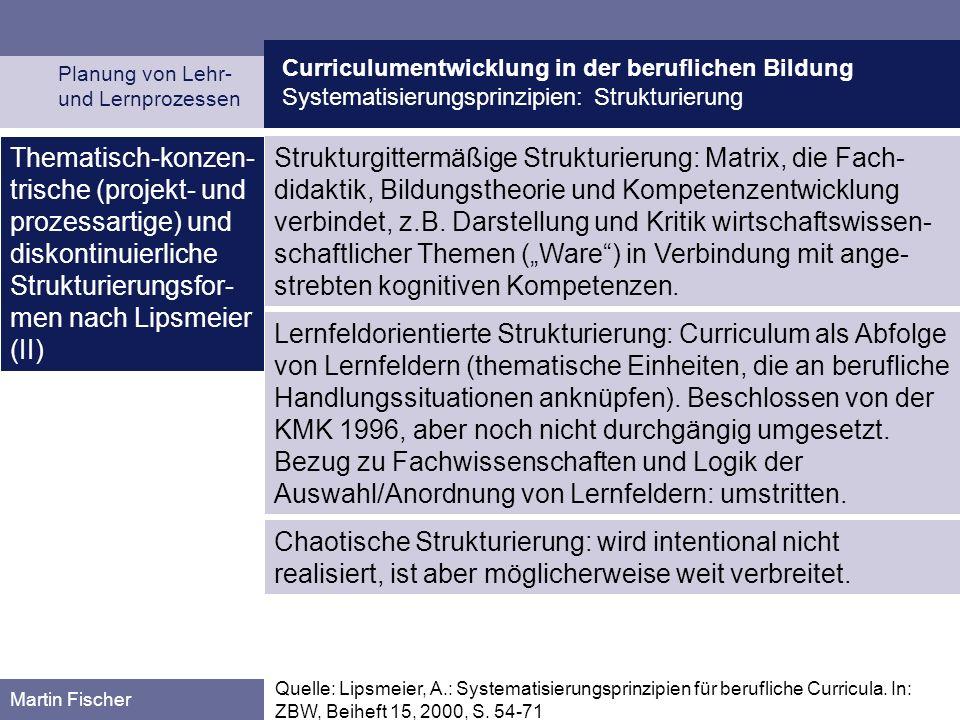 Curriculumentwicklung in der beruflichen Bildung Systematisierungsprinzipien: Strukturierung Planung von Lehr- und Lernprozessen Martin Fischer Thematisch-konzen- trische (projekt- und prozessartige) und diskontinuierliche Strukturierungsfor- men nach Lipsmeier (II) Quelle: Lipsmeier, A.: Systematisierungsprinzipien für berufliche Curricula.
