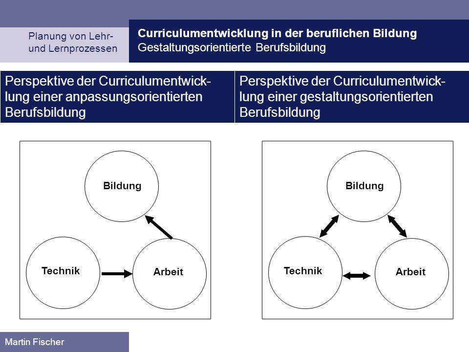 Curriculumentwicklung in der beruflichen Bildung Gestaltungsorientierte Berufsbildung Planung von Lehr- und Lernprozessen Martin Fischer Bildung Techn
