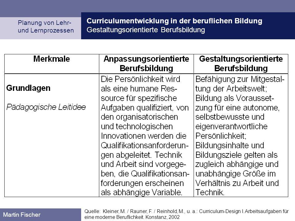 Curriculumentwicklung in der beruflichen Bildung Gestaltungsorientierte Berufsbildung Planung von Lehr- und Lernprozessen Martin Fischer Quelle: Kleiner, M.