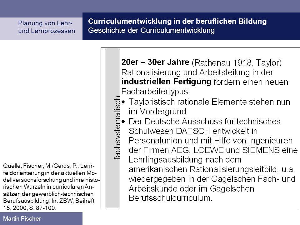 Curriculumentwicklung in der beruflichen Bildung Geschichte der Curriculumentwicklung Planung von Lehr- und Lernprozessen Martin Fischer Quelle: Fischer, M./Gerds, P.: Lern- feldorientierung in der aktuellen Mo- dellversuchsforschung und ihre histo- rischen Wurzeln in curricularen An- sätzen der gewerblich-technischen Berufsausbildung.