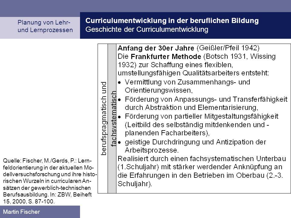 Curriculumentwicklung in der beruflichen Bildung Geschichte der Curriculumentwicklung Planung von Lehr- und Lernprozessen Martin Fischer Quelle: Fisch