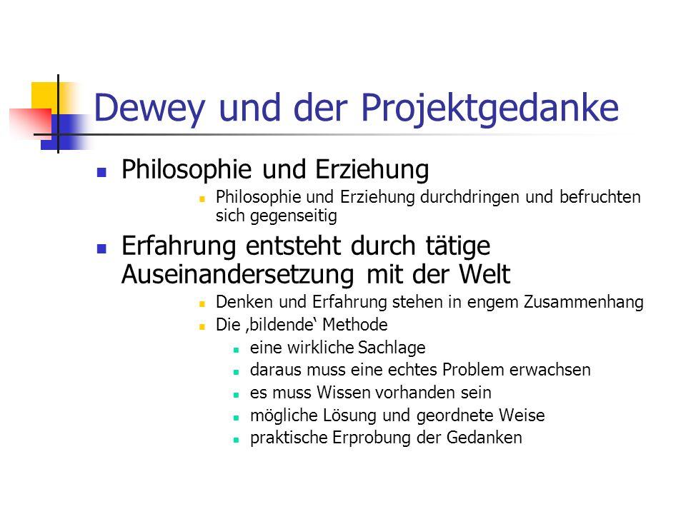 Dewey und der Projektgedanke Erfahrung und Erziehung Lernen nicht durch Aneignung von losgelöstem Wissen Demokratie und Erziehung Der Mensch als soziales Wesen Demokratie als eine Form des Zusammenlebens Dewey und Projekt Vier Bedingungen Projekte im Interesse der SchülerInnen Aktivität auf Wesentliches richten im Verlauf müssen sich Probleme entwickeln Projekt muss gewisse Zeitspanne umfassen