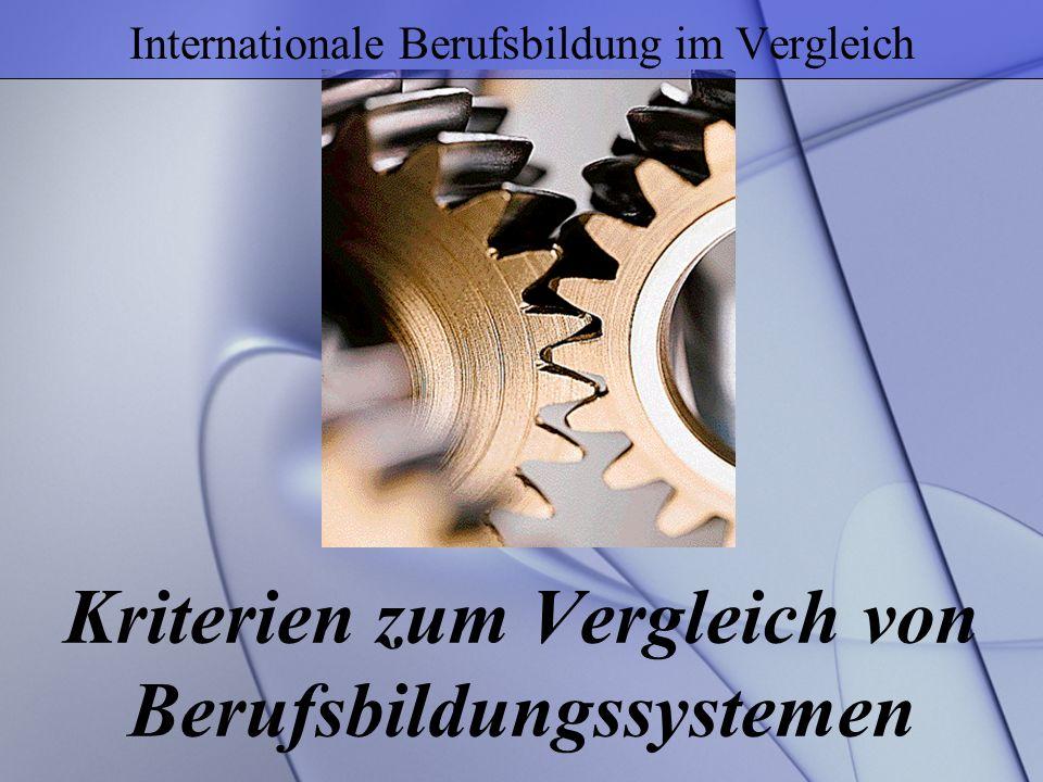 Kriterien zum Vergleich von Berufsbildungssystemen Internationale Berufsbildung im Vergleich
