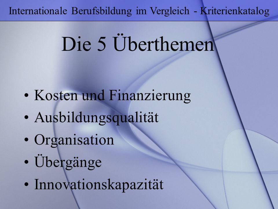 Die 5 Überthemen Internationale Berufsbildung im Vergleich - Kriterienkatalog Kosten und Finanzierung Ausbildungsqualität Organisation Übergänge Innov